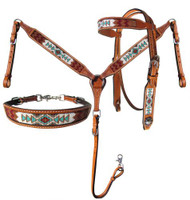 Showman® Argentina Cow Leather 3 Piece Headstall and breast collar set with navajo beaded inlay.