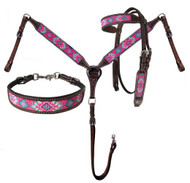 Showman® Argentina Cow Leather 3 Piece Headstall and breast collar set with pink navajo beaded inlay.