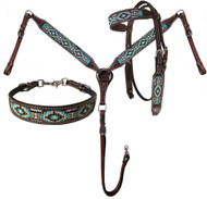 Showman® Argentina Cow Leather 3 Piece Headstall & breast collar set with navajo beaded inlay.