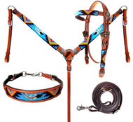 Showman ®  Beaded Turquoise Aztec 4 Piece Headstall and Breastcollar Set.