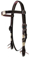 Showman ® Double stitched Argentina Leather browband headstall with rawhide braiding.