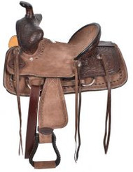 "12"", 13"" Double T  Youth Chocolate Brown Hard Seat Bear Trap Style Saddle."