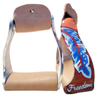 "Showman ® Lightweight twisted angled aluminum stirrups with ""Freedom"" feather design."