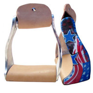 Showman ® Lightweight twisted angled aluminum stirrups with stars and stripes design.