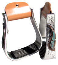 Showman ® Silver Engraved Stirrups with copper and teal feather concho.