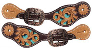 Showman ® Youth leather spur straps with turquoise inlay.