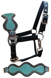 Showman ® Pony Leather Bronc Halter with Teal Glitter Inlay.