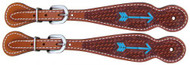 Showman ® Argentina Cow Leather tooled leather spur straps with rawhide laced arrow.
