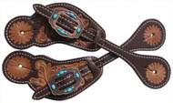 Showman ® Ladies Tooled leather spur straps with vintage copper conchos.