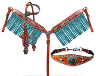 Showman ® Feather and Arrow single ear headstall and breast collar 4 Piece set.