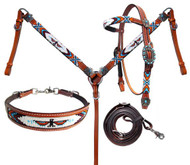 Showman ®  Beaded Thunderbird 4 Piece Headstall and Breastcollar Set.