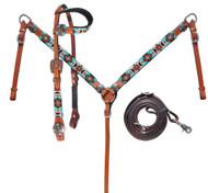 Showman ® Turquoise and Orange Beaded Aztec Headstall and Breastcollar Set.