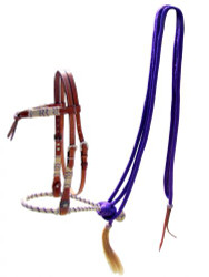 Showman ® leather futurity knot headstall with purple rawhide braided bosal and purplenylon mecate reins.