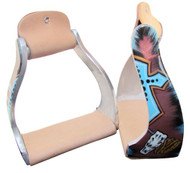 Showman ® Lightweight twisted angled aluminum stirrups with cross and steer head design.