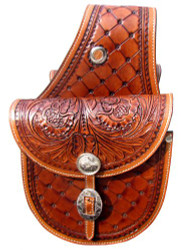 Showman ®  Patchwork and floral tooled saddle bag.