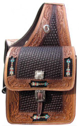Showman ® Basketweave and leaf tooled leather saddle bag with beaded arrow inlay.