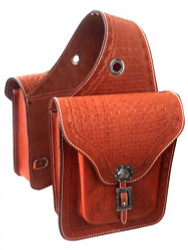 Showman ® Basketweave tooled leather saddle bag.