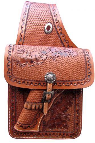 Showman ® Basketweave tooled leather saddle bag with 22 caliber gun holster