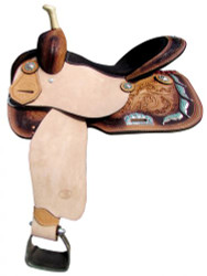 "14"", 15"", 16"" Circle S Barrel Style Saddle with Feather Concho Design."