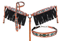Showman ® 4 Piece beaded navajo cross headstall and breast collar set.