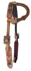 Showman ® Argentina cow leather single ear headstall with hand painted thunderbird design.