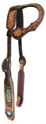 Showman ® Argentina cow leather single ear headstall with turquoise and brown beaded inlay.