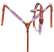 """Showman ® Pony Size Silver Glitter """"I Love My Pony"""" leather headstall and breast collar set."""