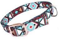 Showman Couture ™ Teal and Burgundy Geometric designed nylon dog collar.
