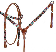Showman ® Teal and Red Navajo Beaded headstall and breast collar set.