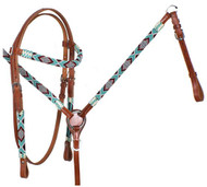 Showman ® Turquoise and Red Beaded headstall and breast collar set.