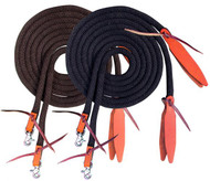 Showman ® 8ft round braided nylon split reins with leather poppers.