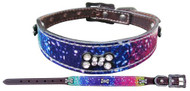 Showman Couture ™ Genuine leather dog collar with a distressed rainbow print overlay.