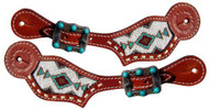 Showman ® Ladies Turquoise Beaded Inlay spur straps.