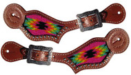 Showman ® Hot Pink Navajo beaded inlay Spur Strap.