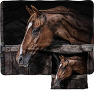 Horse Print Silk Tough Throw and Pillow Set.