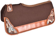 "Showman ® 32"" X 31"" Contoured felt bottom saddle pad with painted dreamcatcher wear leathers."