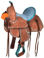 "10"" Double T  Youth Barrel style saddle with turquoise seat."