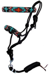 Showman ® Turquoise and Red navajo cross beaded nose cowboy knot rope halter with 7' lead.