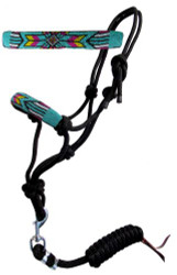 Showman ® Beaded nose cowboy knot rope halter w/7' lead. .