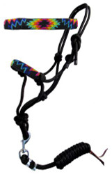 Showman ® Rainbow navajo beaded nose cowboy knot rope halter with 7' lead.