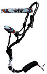 Showman ® Thunder Bird Beaded nose cowboy knot rope halter with 7' lead.