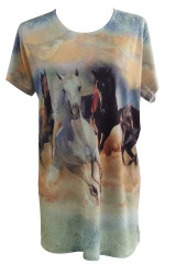 """Wild and Free"" Running Horse Round Neck T-Shirt."
