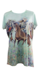 """Roping Cowgirl"" Round Neck T-Shirt."