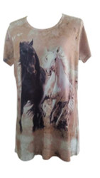 """Running Horses"" Round Neck T-Shirt."