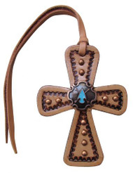Showman ®  Light Leather Tie On Cross with Turquoise Stone Arrow Head Concho.