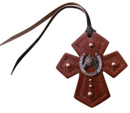 Showman ® Leather Tie On Cross with Horseshoe and Horse Head Concho.