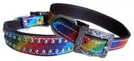 Showman Couture ™ Rainbow Glitter overlay leather dog collar.