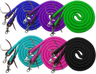 Showman ® 8ft braided soft cotton barrel reins with scissor snap ends.