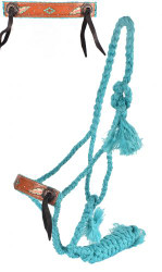 Showman® Woven teal nylon mule tape halter with hand painted feather design.