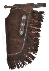 Showman ® Dark Brown Suede leather chinks with turquoise buckstitch.
